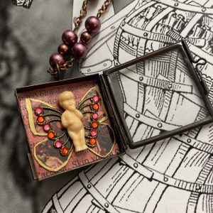 Shadow Box necklace with little doll
