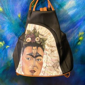 Frida Kahlo portrait hand painted backpack