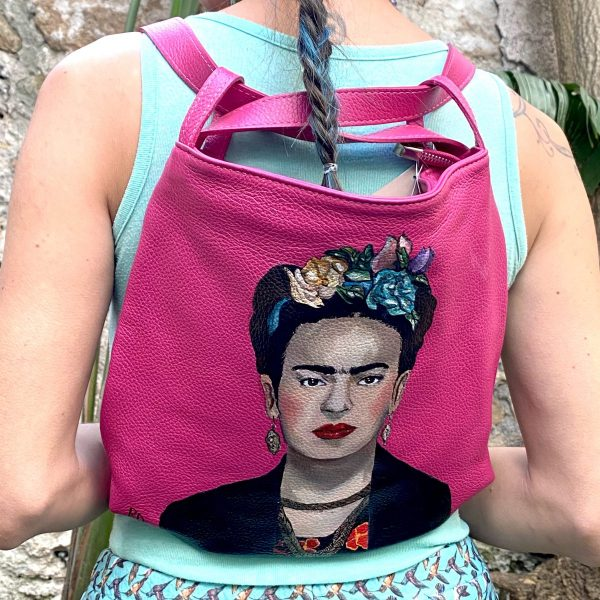 Frida Kahlo hand painted real leather bag