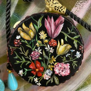 Necklace Flemish Painting on tambourine