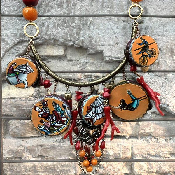 Circus tambourine necklace