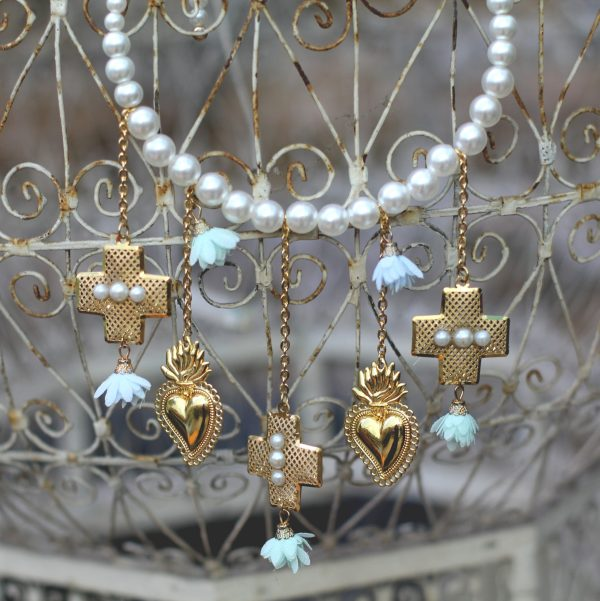 Handmade necklace with sacred golden hearts and crosses