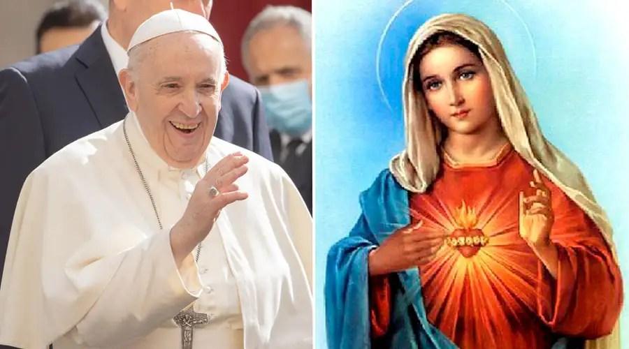 Papa Francisco. Crédito: Daniel Ibáñez (ACI Prensa) / Corazón Inmaculado de María (dominio público)