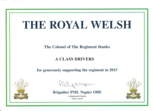 a class drivers supports the royal welsh