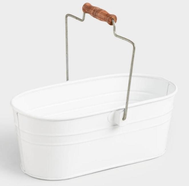 Metal, minimalist cleaning caddy