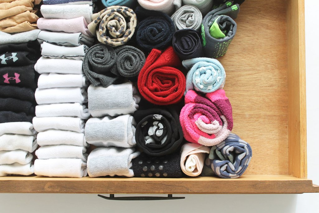 How to organize socks in a drawer