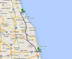 chicago-to-highland-park-illinois-map