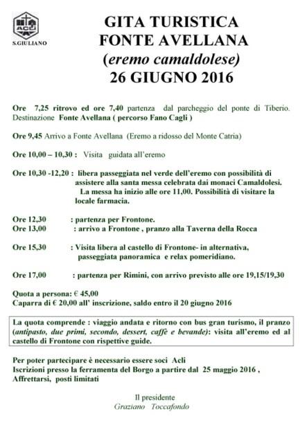 locandina gita a Fonteavellana il 26 - 06- 2016