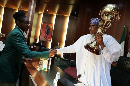 President Buhari 'celebrates' Afrobasket Women Champions with N12.5m cash