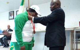 NOC president decorates Mariam Usman with Olympic Bronze medal
