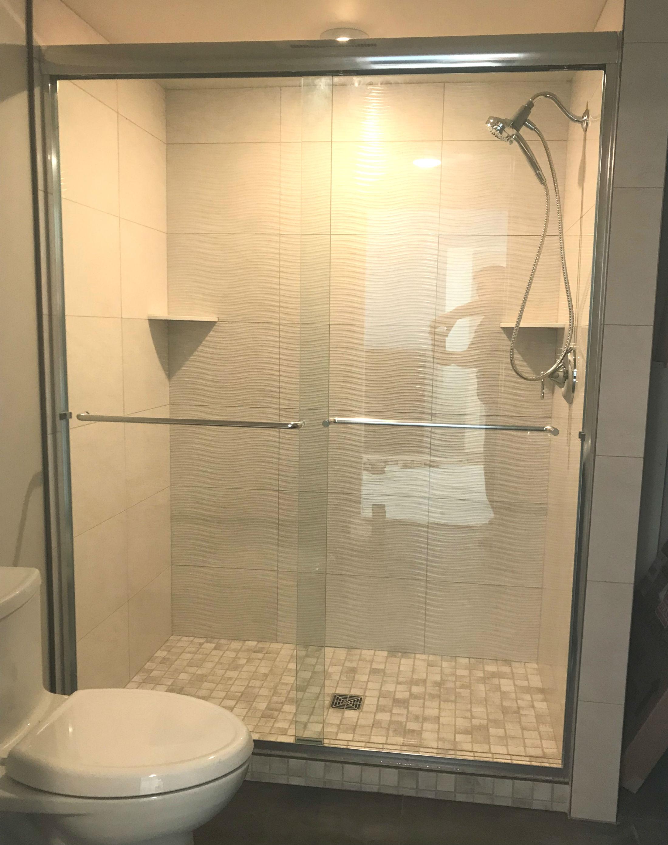 white tile with wave splash shower