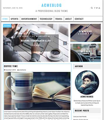 AcmeBlog : Professional Blog , News and Magazine WordPress Theme