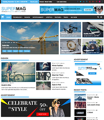 SuperMagPro - Premium Magazine, News and Blog WordPress Themes