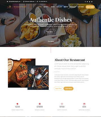 Restaurant and Cafe Premium WordPress Theme