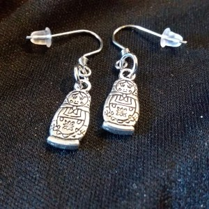 silver-tone matroyshka charm earrings