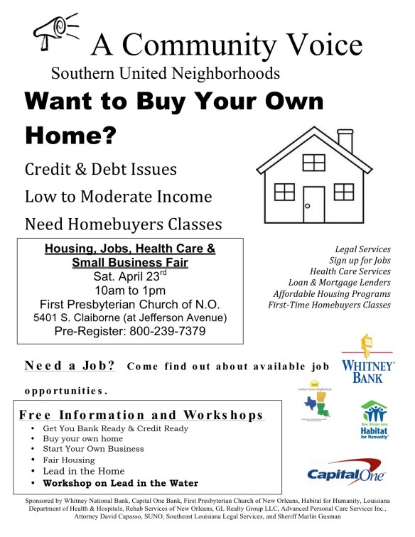 Flyer April 23rd Housing fair