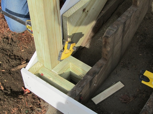 Replacing An Exterior Stair Post Concord Carpenter | Exterior Wood Newel Posts | Deck | Cap | Box Newel | Handrail | Porch