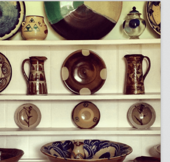 In AW14, we reached a new state of engagement with prints, taking an Instagram and turning it into our Pottery print.  Instagram photo from Terry Ellis (of Beams Japan) of his extensive Mingei pottery collection (kitchen cabinet)