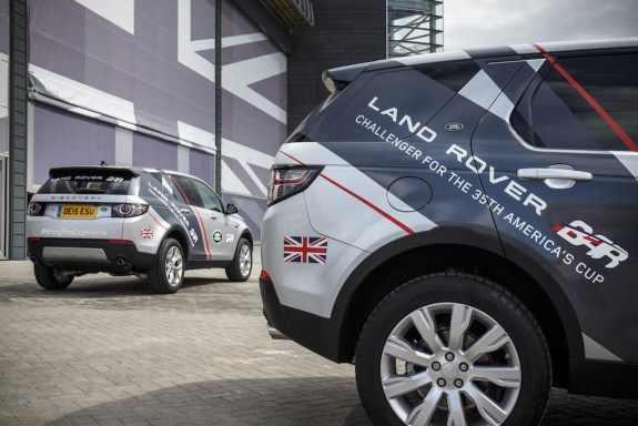 Land Rover Discovery Sport team vehicles at Land Rover BAR in Portsmouth
