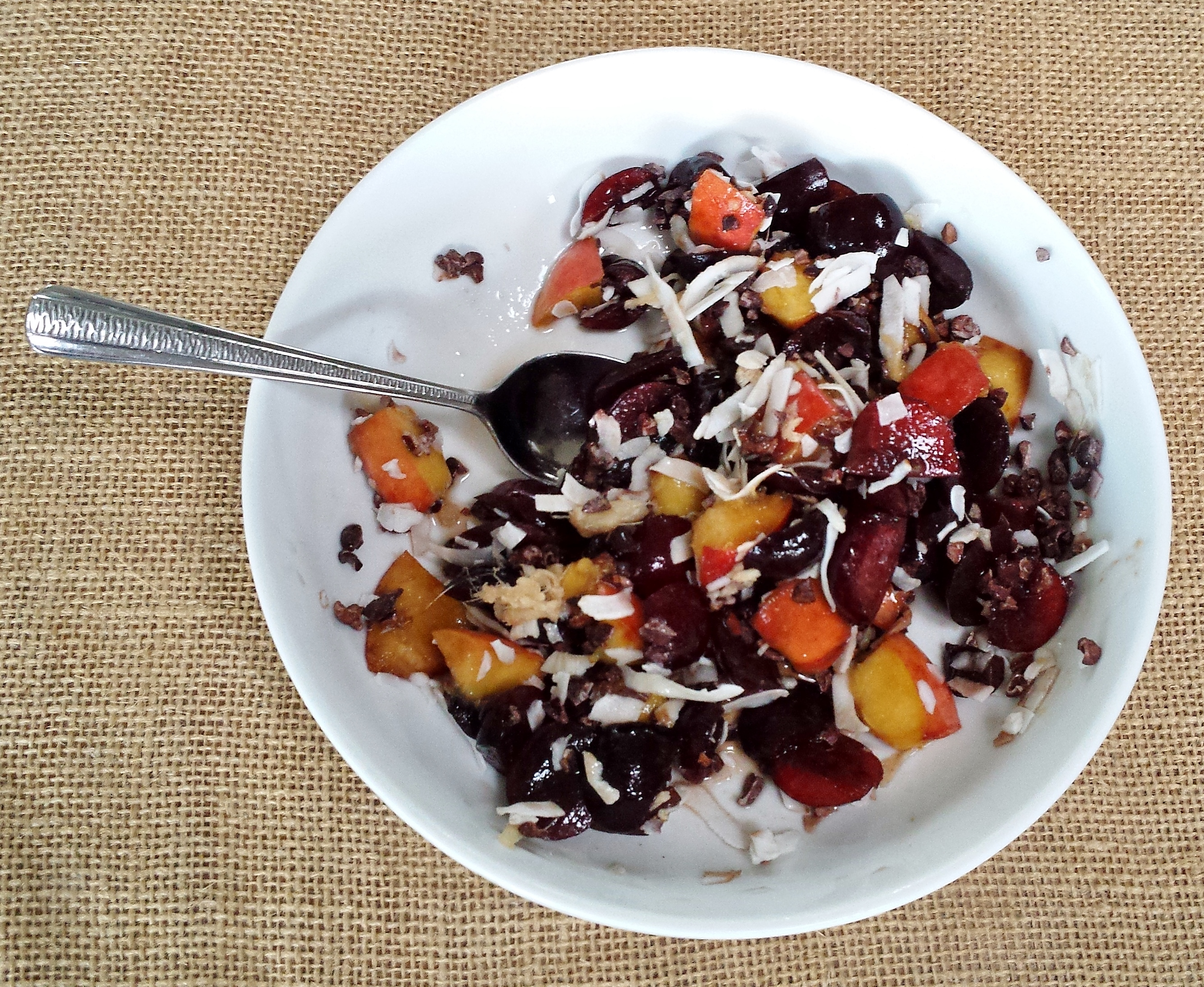 Super-Easy, Totally Un-Blah Fruit Salad #5: Cherries, Peaches, Cacao Nibs, and Ginger