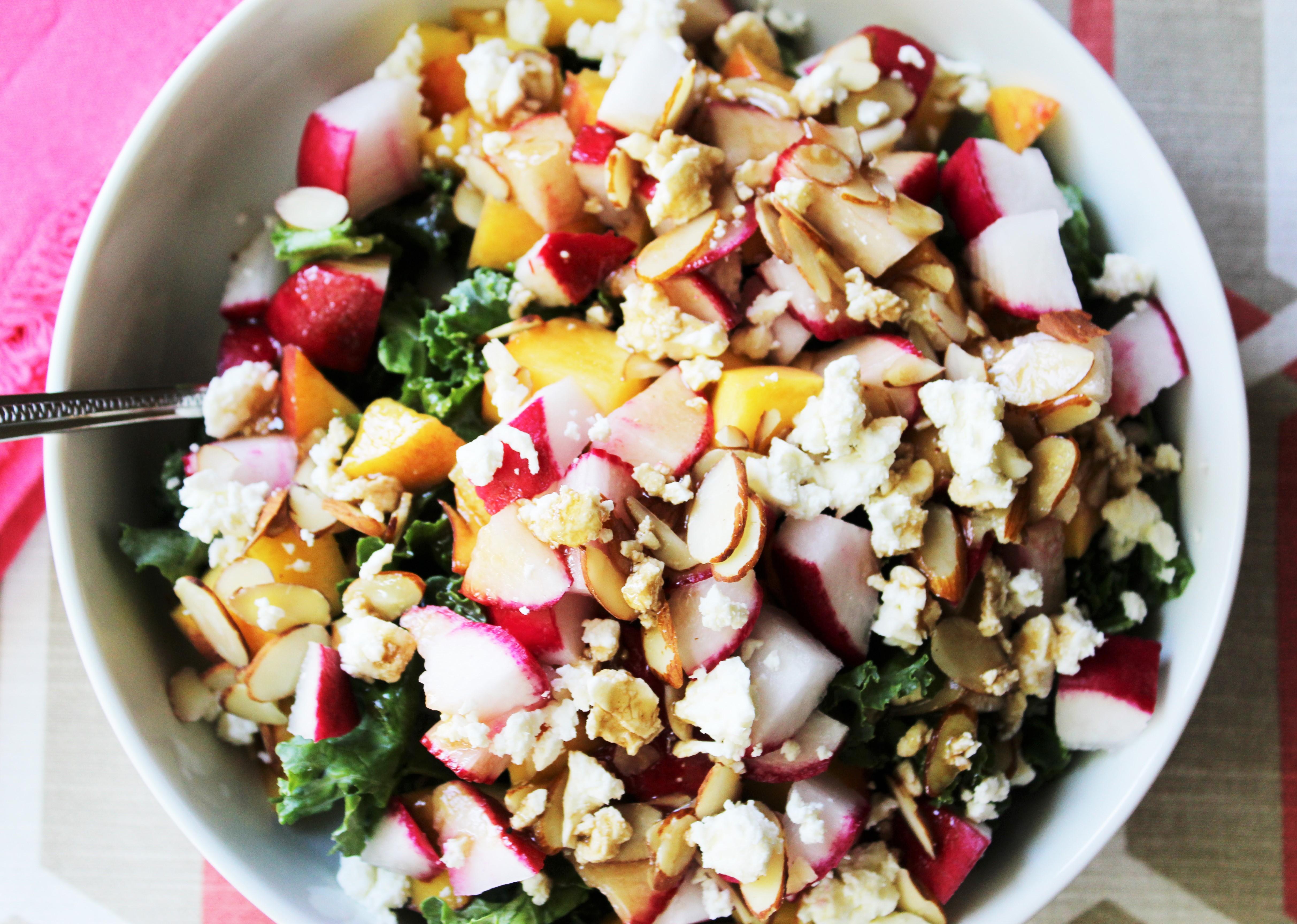 Peach, Radish, and Feta Kale Salad 2