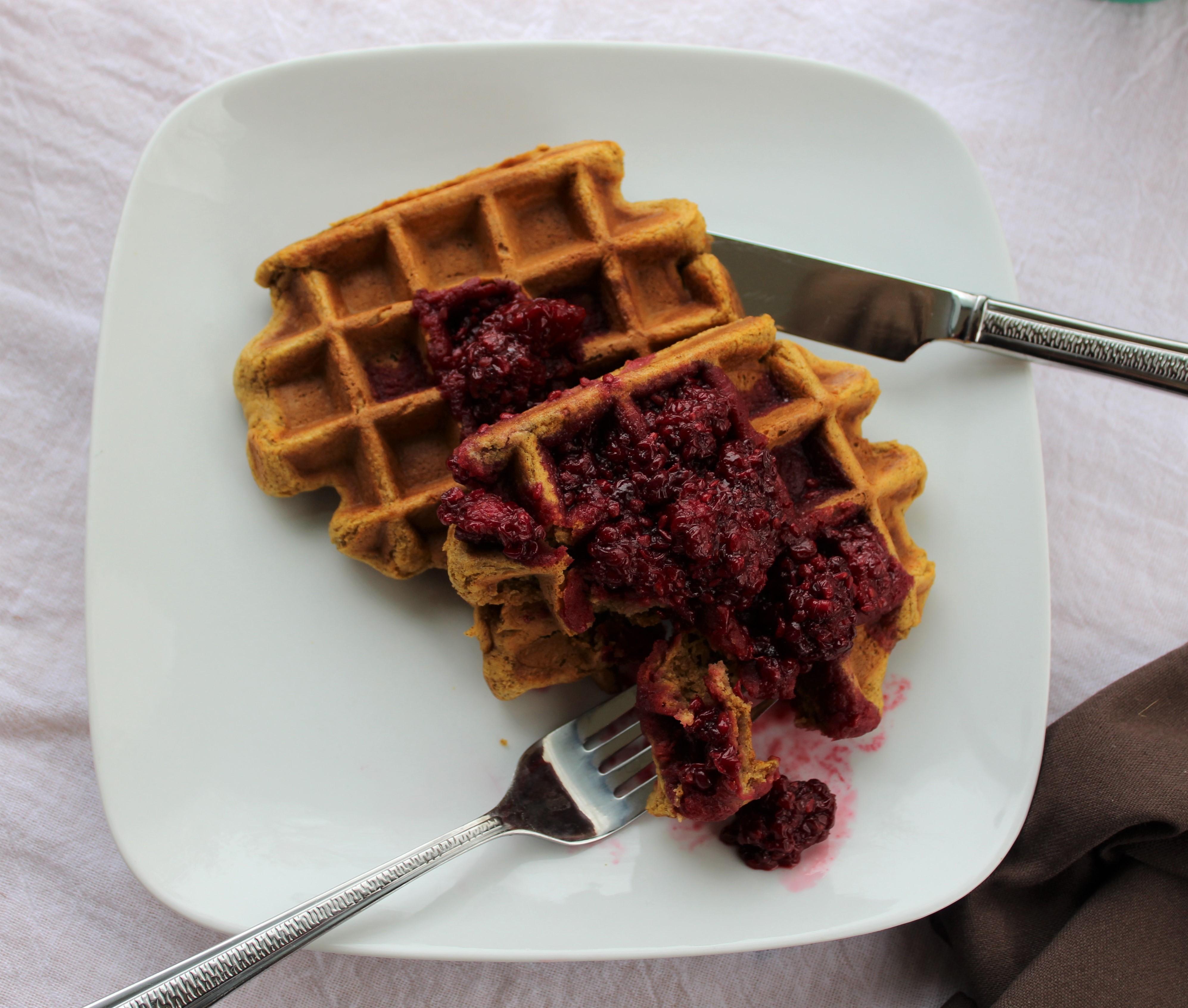 Pumpkin Cinnamon Waffles with Blackberry Sauce 2