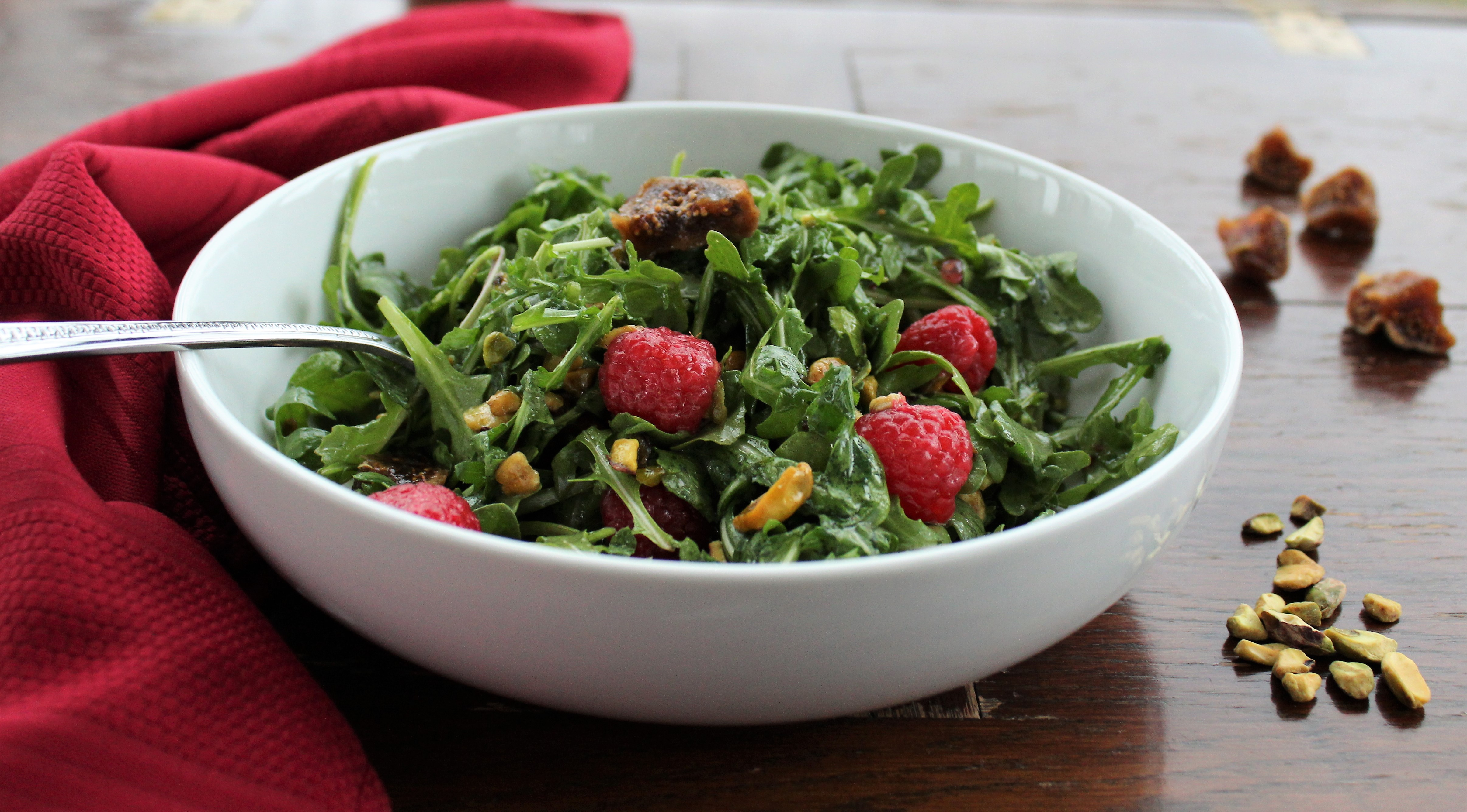 Arugula Salad with Raspberries, Figs, and Pistachios 1