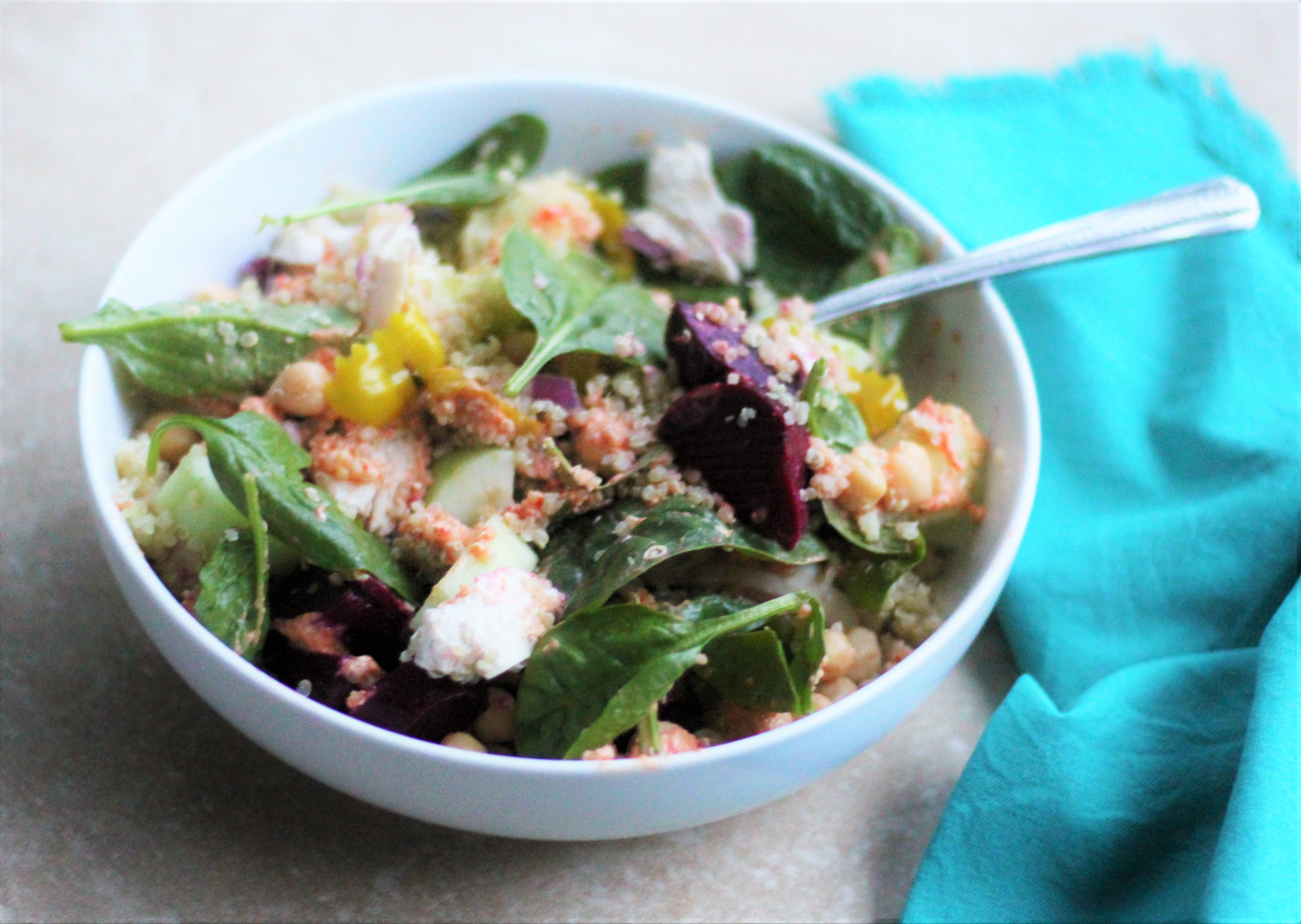Greek Bowls with Chicken and Spicy Feta Sauce 3