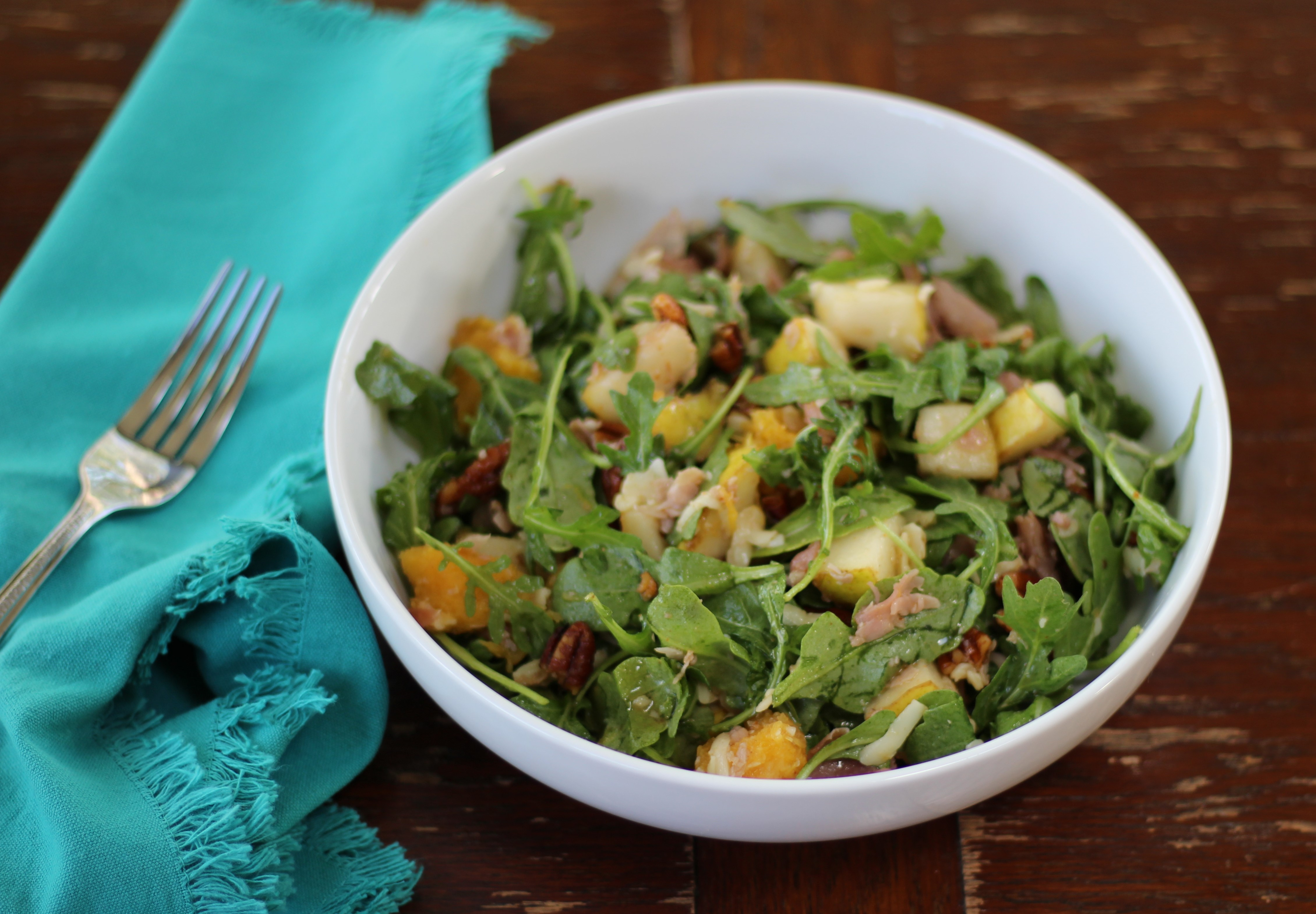 Prosciutto, Pear, and Fontina Arugula Salad with Spicy Toasted Pecans 3