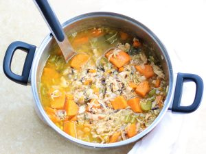 A pot of Chicken, Sweet Potato, and Wild Rice Soup