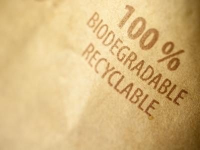 Biodegradable bag recyclable packaging, material background