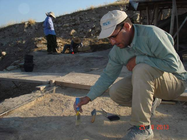 Since beginning his archaeological studies at Mu'tah University, Zakariya has participated in numerous excavations throughout Jordan, the broader Middle East, and Europe. He is shown here excavating a square at the ancient site of Arslan Tepe in eastern Turkey. Photo courtesy Zakariya Na'imat.