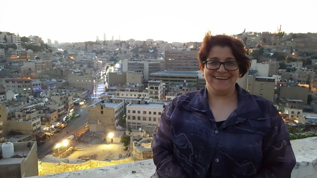 Dr. Aseel Sawalha in Amman above the Nymphaeum, photo by B.A. Porter (2016)
