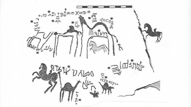 Inscriptions and Rock Art from Jabal Manshir (from David F. Graf, Rome and the Arabian Frontier: From the Nabataeans to the Saracens [1997], p. 307)