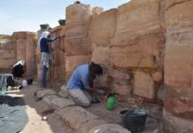 A major goal of SCHEP is to support the development of trained local teams capable of implementing necessary interventions at archaeological sites around Jordan, such as this conservation unit shown working on ACOR's Temple of the Winged Lions project in Petra. Photo by Ghaith al-Faqeer.