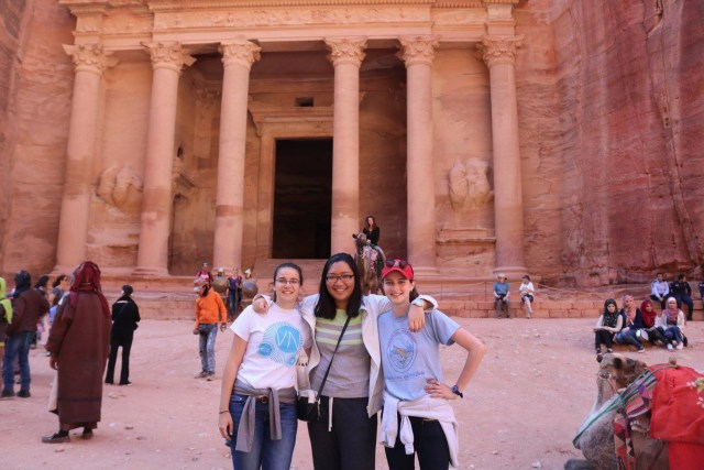 Left to right: AMIDEAST study abroad students and ACOR interns Sarah Schweyen, Ronnie Zhu and Emily Sorkin Smith at Petra in October 2016. Photo courtesy of S. Schweyen.