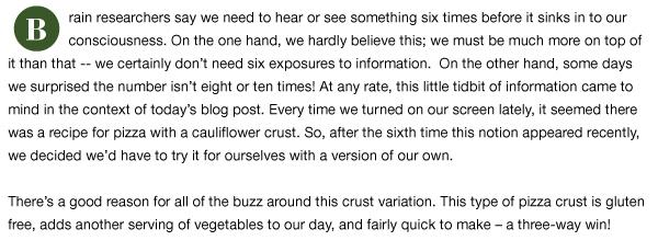 Pizza with Cauliflower Crust