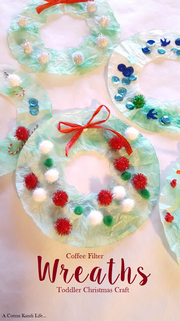 Coffee Filter Wreaths {Toddler Christmas Craft}