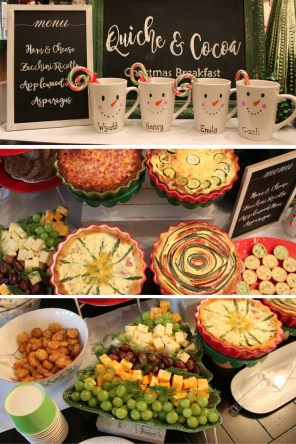CHristmas Breakfast Buffet Ideas. Hosting Christmas Breakfast. Quiche Buffet. Quiche Recipes