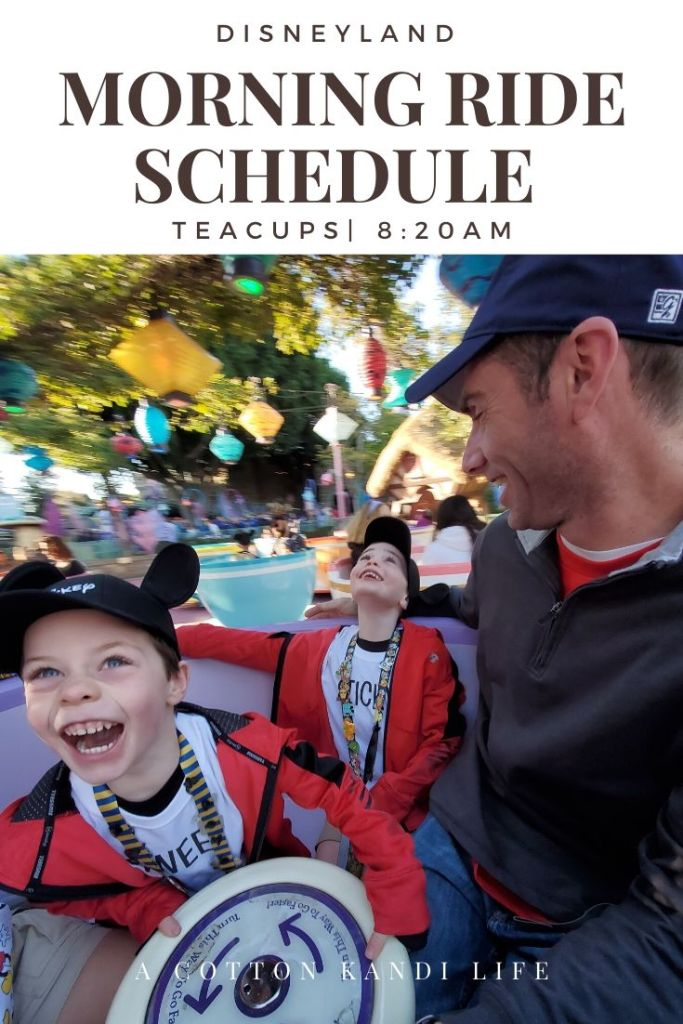 Get the most out of your Disneyland Ride Schedule by having a game-plan set before you get there. I'm sharing our experience and what we did so you can use it as a Schedule Template to map out your Disneyland Itinerary.  * When to ride the Teacups: Everything you need to know about your Disneyland Morning Ride Schedule from where to start with young kids to how we did 10 rides in 2 hours.