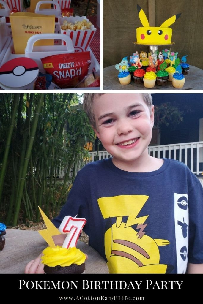Cash had the best and most simple Pokémon Birthday Party Ever. With a Pikachu Cake, Movie Night Concession stand and Energy Cupcakes, we were ready for action all night.  ****** Pokémon Birthday Party Ideas.