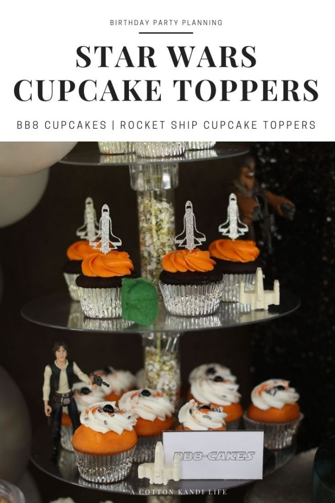 We cut Rocket Ship Cupcake Toppers in the Etsy Shop and made our own DIY BB8 Cupcakes with clever sprinkles * Planning the Party Food might be my favorite part of every birthday. You can tell we had a lot of fun with this Star Wars Theme. You can find a lot of Inspirations and Party Ideas here too, but desserts, snacks and signature drinks are my favorite!