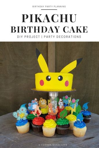 Make the easiest Pikachu Birthday Cake with some simple circles of punches paper and cut ears as cake toppers. Surround him with Pokémon Energy Cupcake Toppers and your Pokémon Birthday Party is ready for action!  ******* Pokémon Birthday Party Ideas