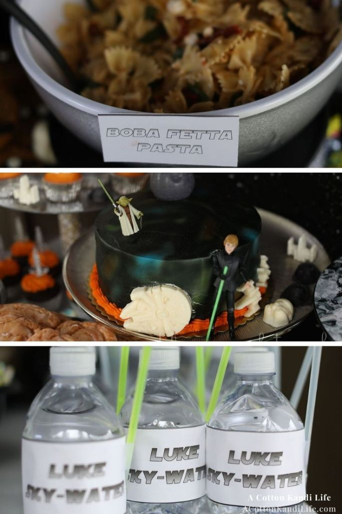 Don't forget the Boba Fetta Pasta Salad and Luke Sky-Water!  * Planning the Party Food might be my favorite part of every birthday. You can tell we had a lot of fun with this Star Wars Theme. You can find a lot of Inspirations and Party Ideas here too, but desserts, snacks and signature drinks are my favorite!