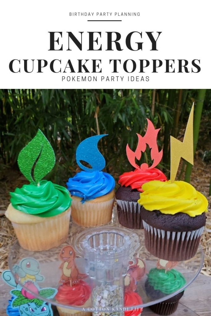 Pokémon Energy Cupcake Toppers, or Element Cupcake Toppers really bring your Pokémon Theme together for any party. Between Grass, Water, Fire and Electric Energies, you're ready for action.  **** Pokémon Birthday Party Ideas