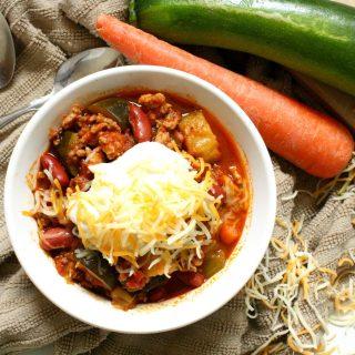 Chili de Carne Moída com vegetais