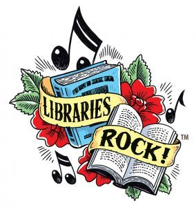 Libraries rock with books, flowers, and music notes