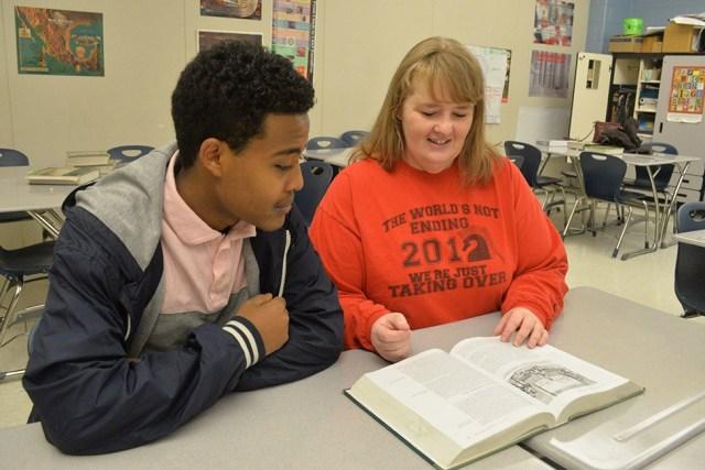T.C. Williams teacher Molly Freitag with a student.