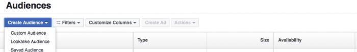 Facebook retargeting create audience