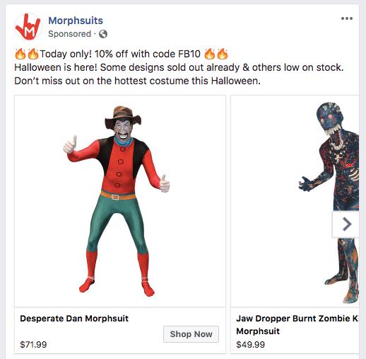 morphsuits facebook ad screenshot